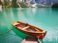 Braies Lake in Dolomiti region, Italy